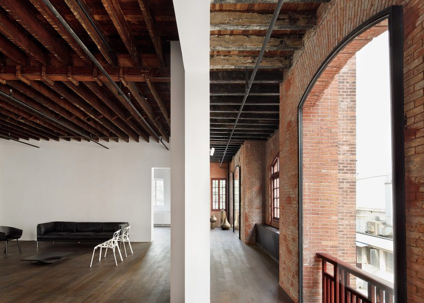 The Design Republic Commune by Neri&Hu on the top 10 brick interiors on Dezeen's Pinterest boards