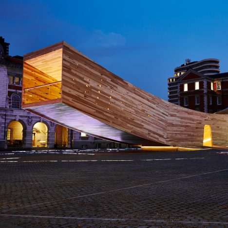 Alison Brooks creates giant smile using cross-laminated tulipwood