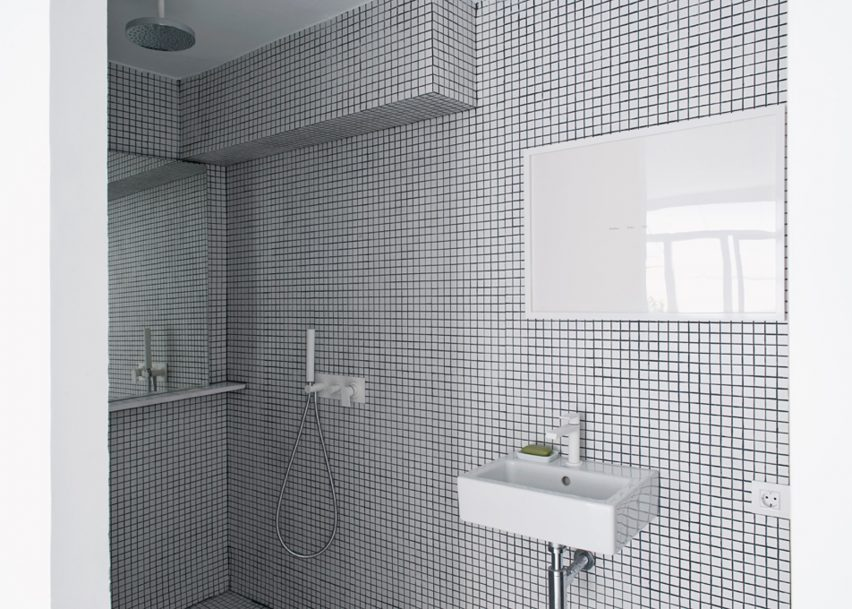 The White Retreat features in Dezeen's Pinterest bathroom roundup