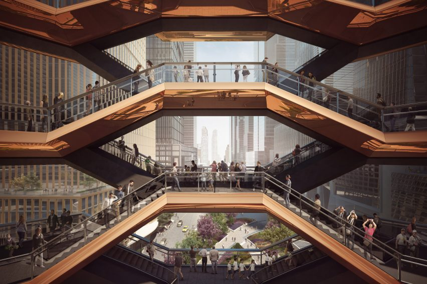 "Heatherwick unveils staircase sculpture as ""centrepiece"" for New York's Hudson Yards"
