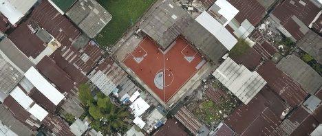 Non-rectangular football pitches created in Bangkok slum