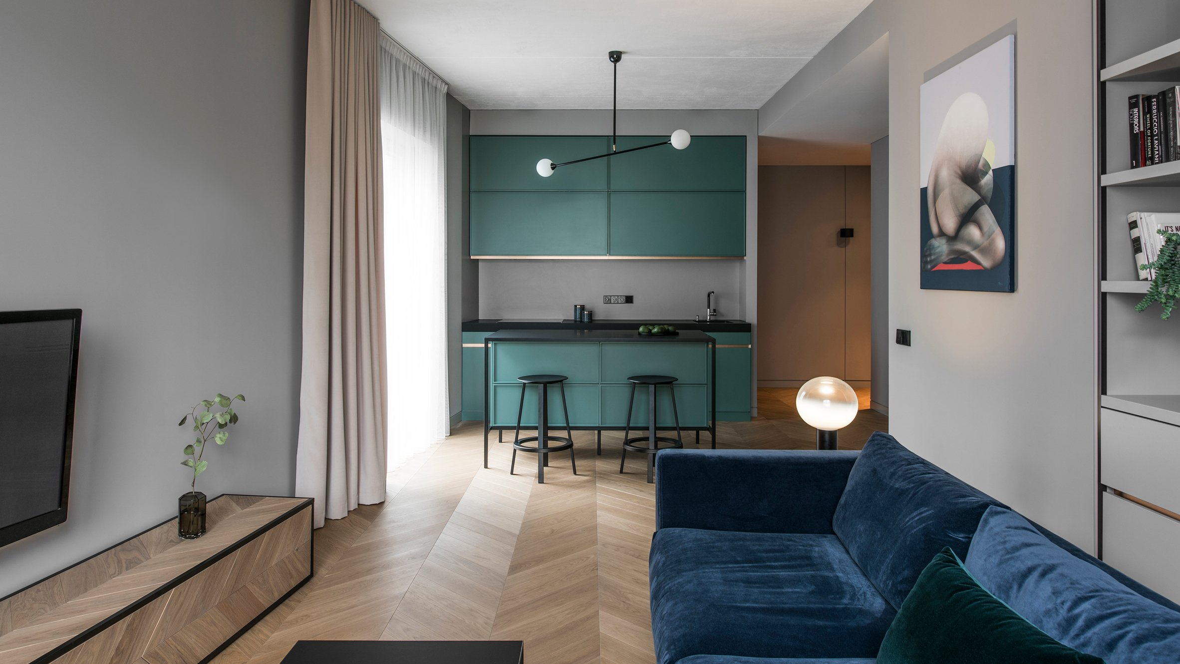 colourful accents offset grey walls in vilnius apartment