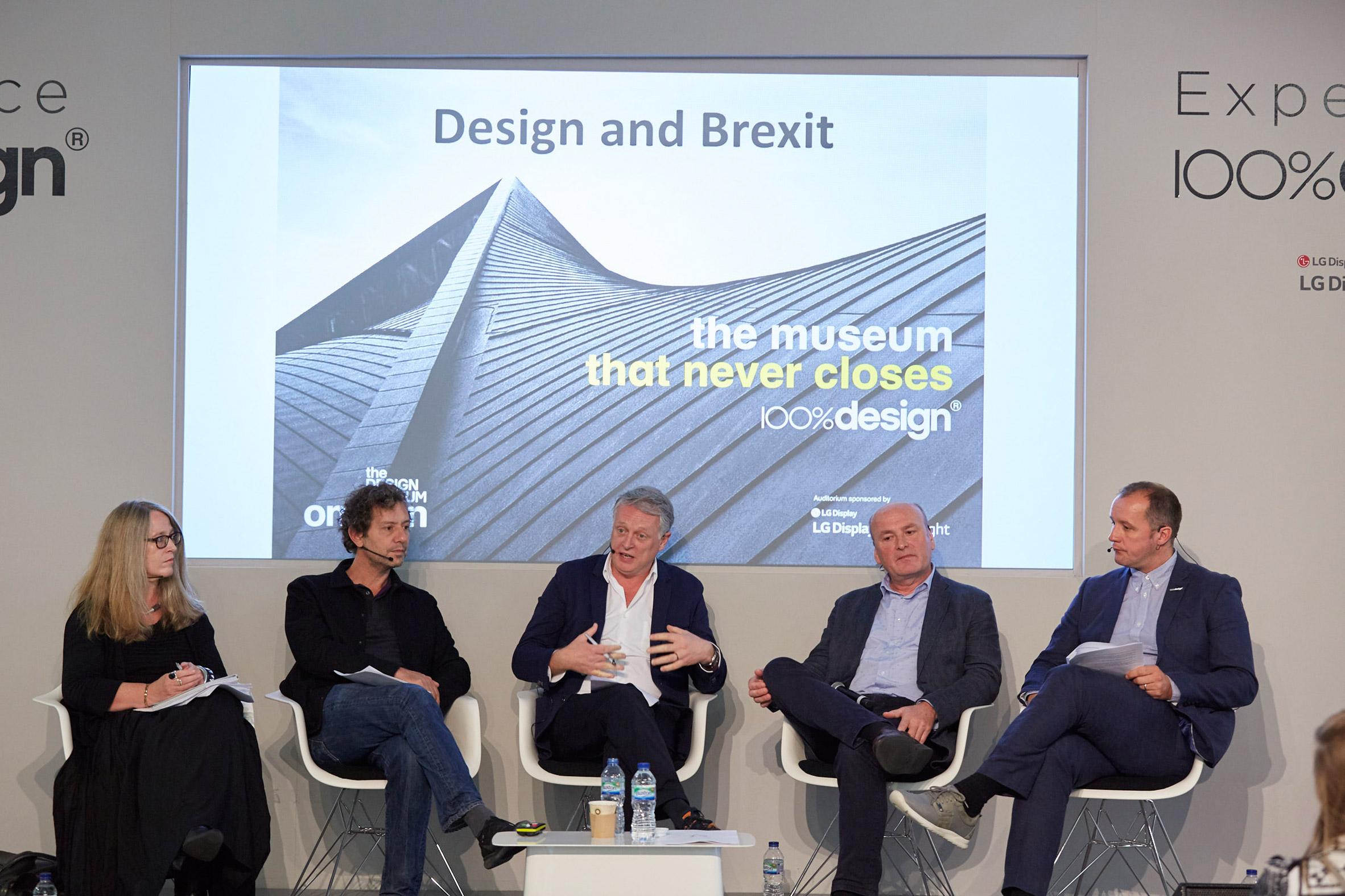 Ben Evans (centre) in a panel discussion about Brexit during London Design Festival