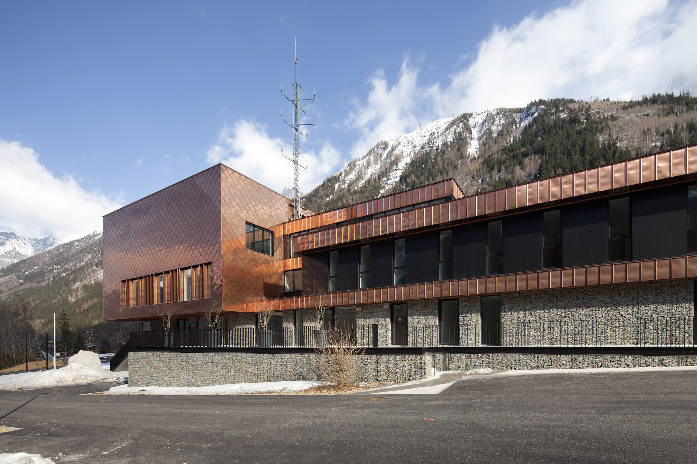 Copper scales cover fire station in French Alps by Studio Gardoni Architectures