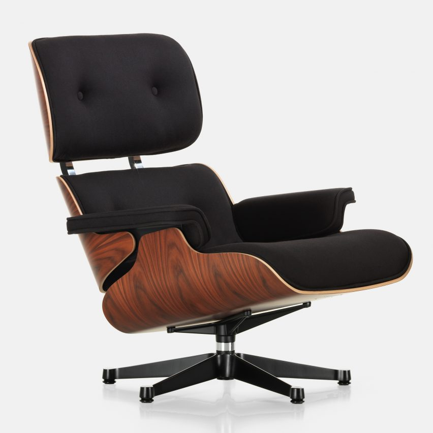 vitra covers eames lounge chair in fabric to celebrate 60th. Black Bedroom Furniture Sets. Home Design Ideas