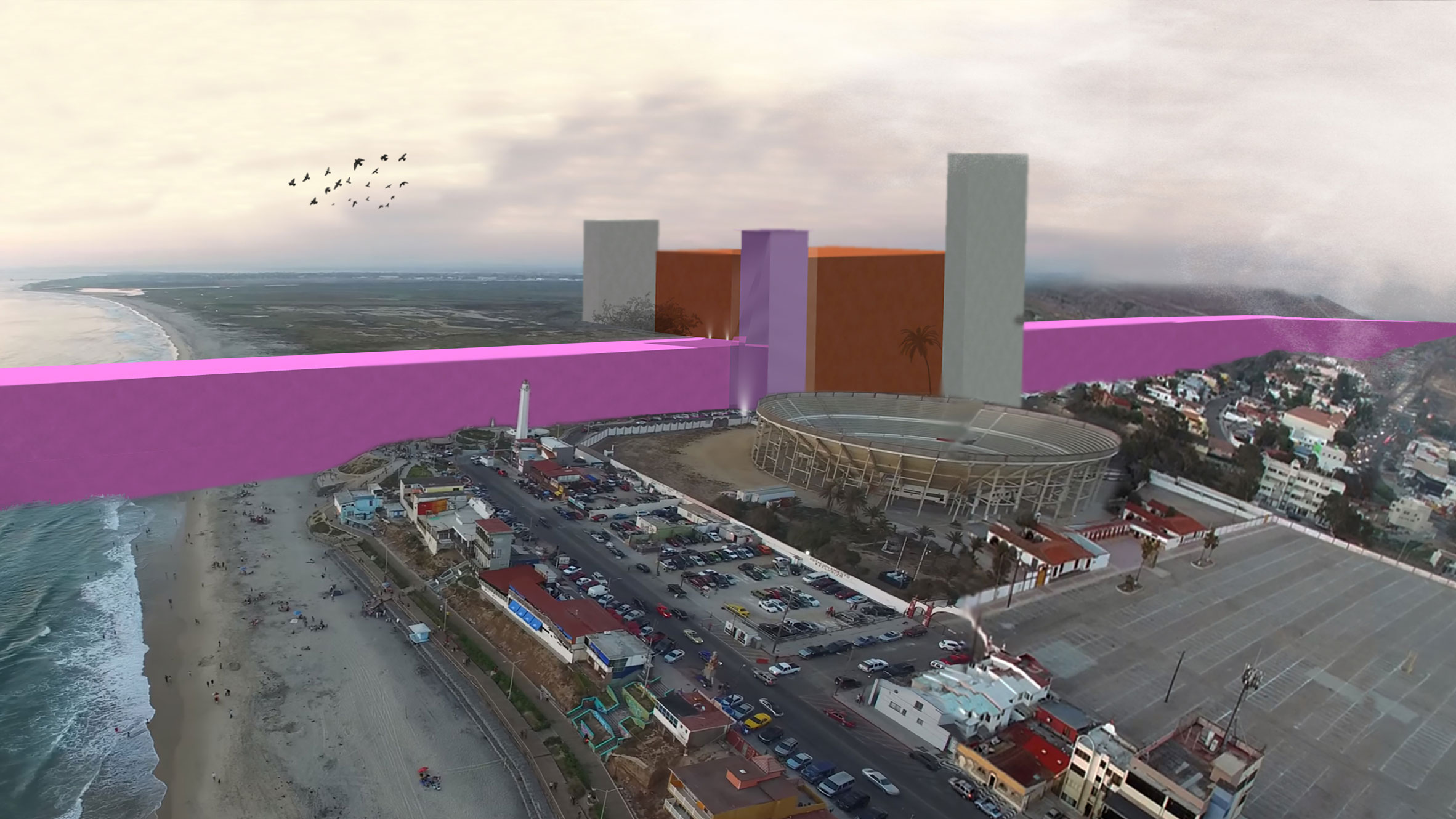 Trump S Mexican Border Wall Envisioned As Barragan Inspired Pink Barrier