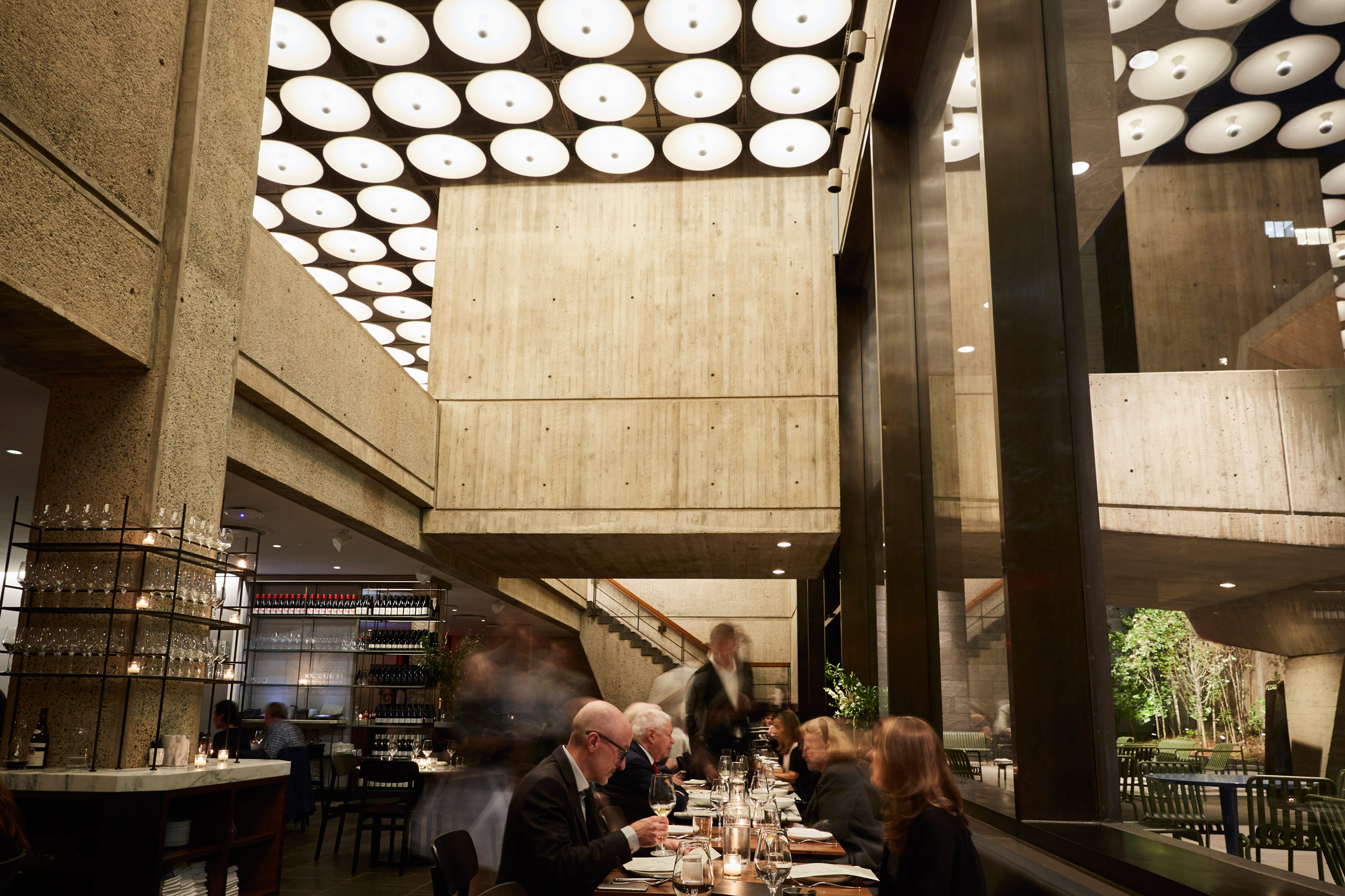 Restaurant and coffee bar open inside brutalist met breuer