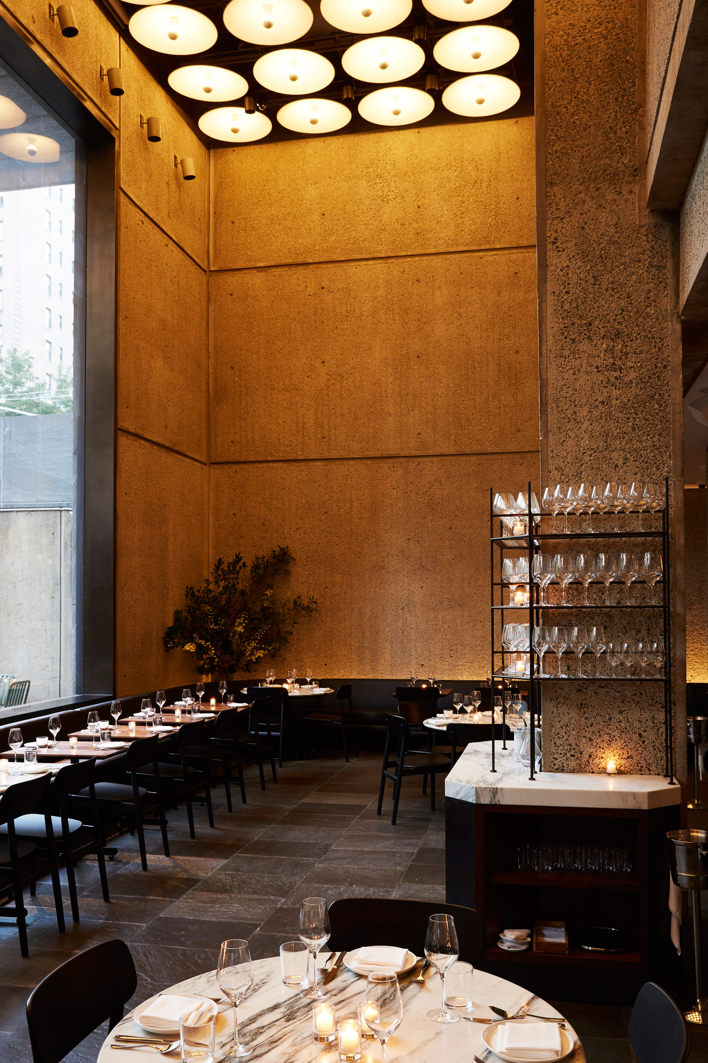 Restaurant and coffee bar open inside brutalist met breuer