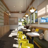Moby's Little Pine vegan cafe features modernism-influenced interior by Studio Hus