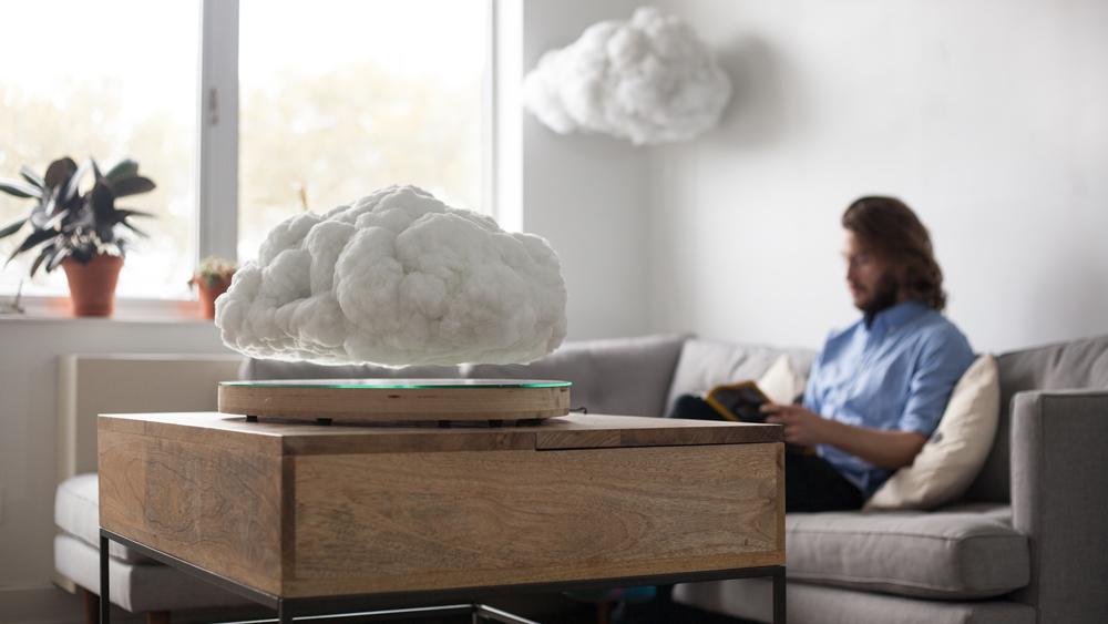 levitating furniture. richard clarkson disguises bluetooth speaker as levitating indoor cloud furniture