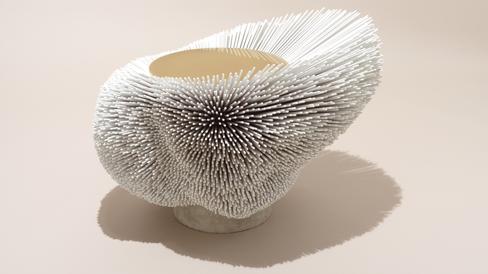 Pia Maria Raeder Turns Beech Rods Into Spiky Furniture