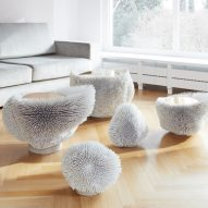 Beech rods turned into spiky furniture by Pia Maria Raeder