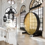 Sun-like disc of 8,000 Swarovski crystals installed at baroque Viennese palace