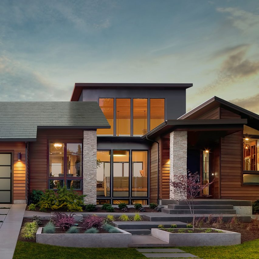 Tesla and solarcity unveil inconspicuous solar roof tiles for Solar powered home designs