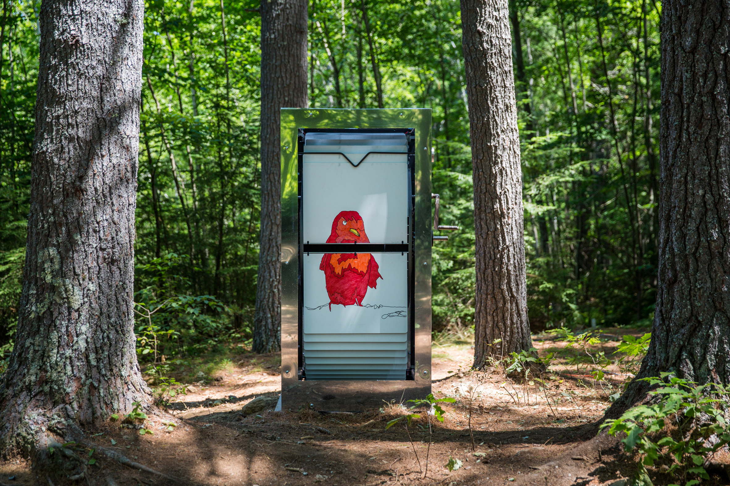 Mobile Studio Architects installs giant flip-books in the forests of New Hampshire