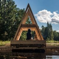 Floating wooden pavilion designed by students to deal with forest flooding in Estonia