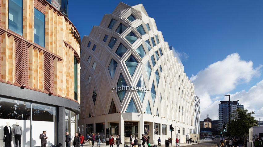 Diamond-shaped latticework covers Victoria Gate shopping