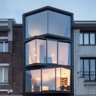 Angled glazing frames range of views from Ghent house by Miass Architecture and Steven Vandenborre