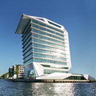 Ship-like headquarters for Calvin Klein and Tommy Hilfiger overlooks Amsterdam's IJ river