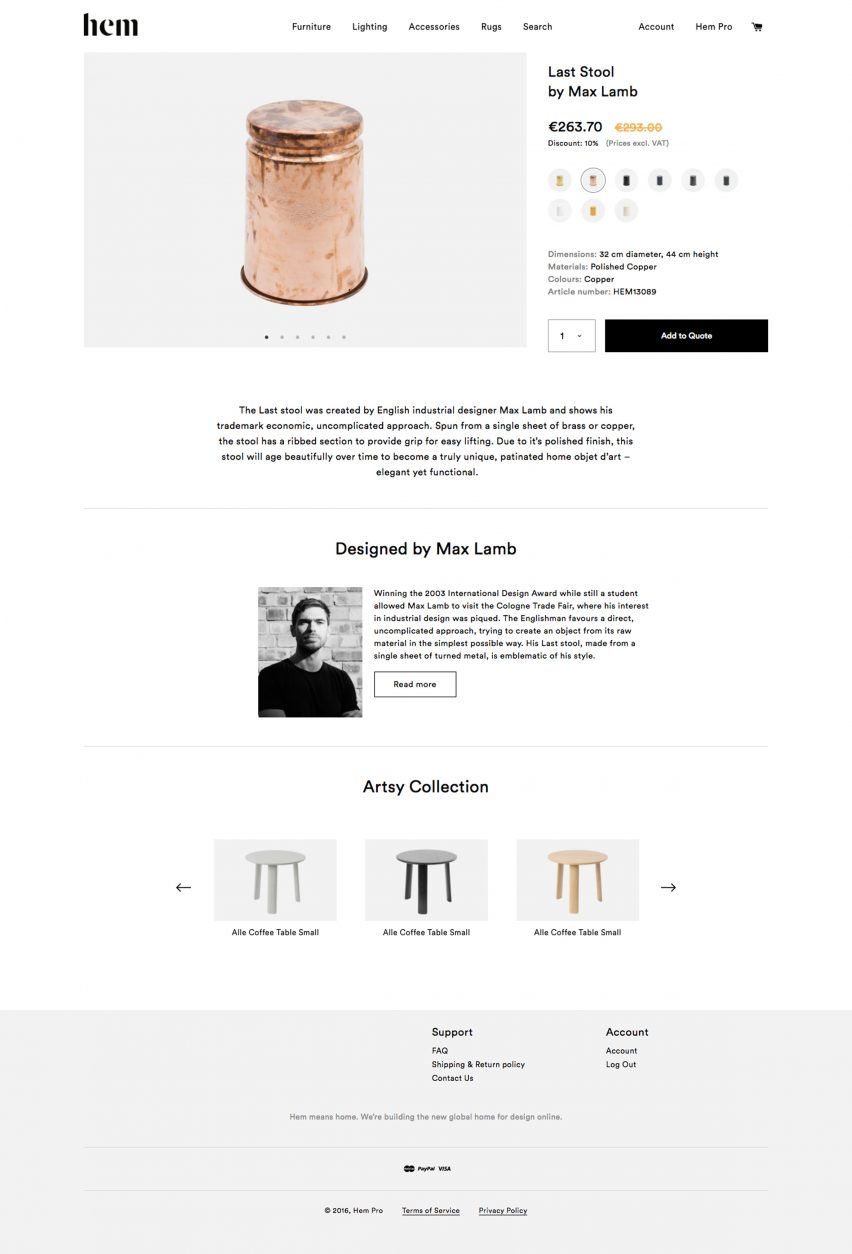 Hem launches e-commerce site especially for designers and architects