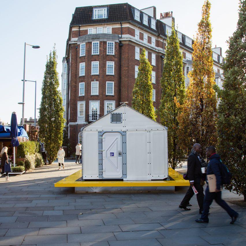 design museum installs ikea refugee shelter on london streets sig nordal jr. Black Bedroom Furniture Sets. Home Design Ideas