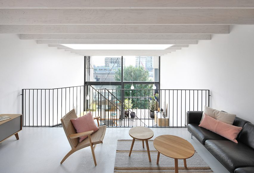 Wooden Lofthouse I in Amsterdam features zigzag stair and
