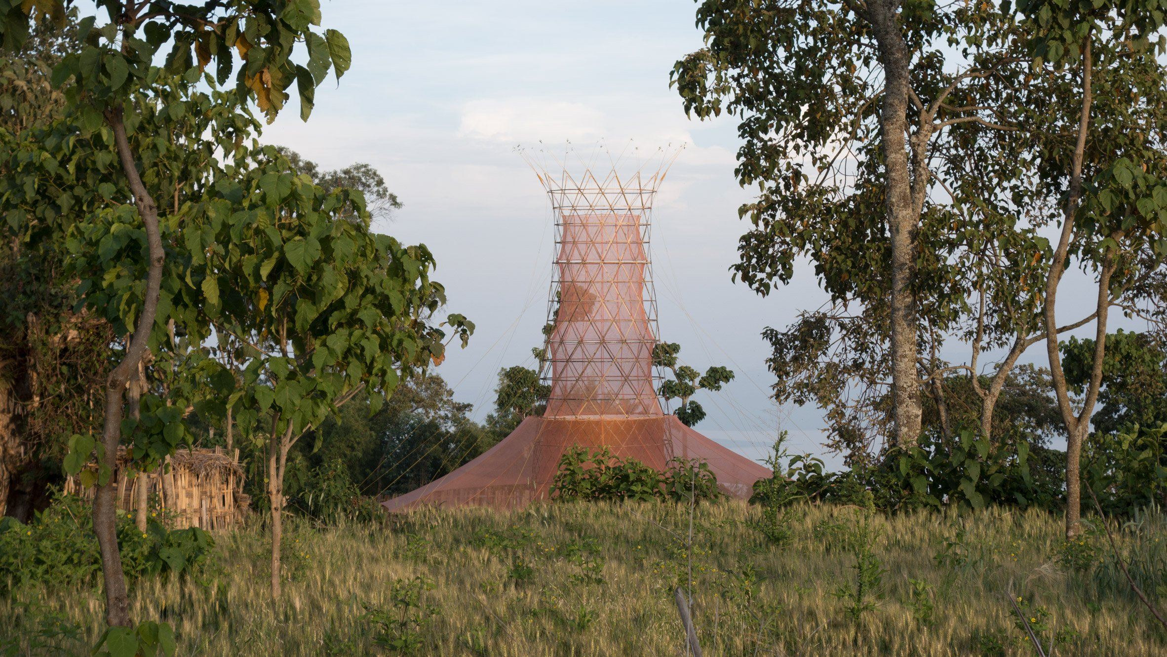 Warka Water's water-collecting tower
