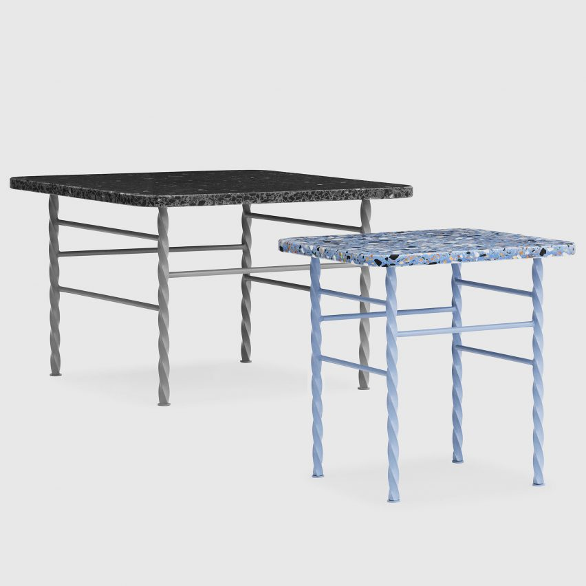 Normann Copenhagen\'s speckled Terra tables join the terrazzo trend
