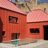 Red pyramidal rooms form Henning Stummel's London home