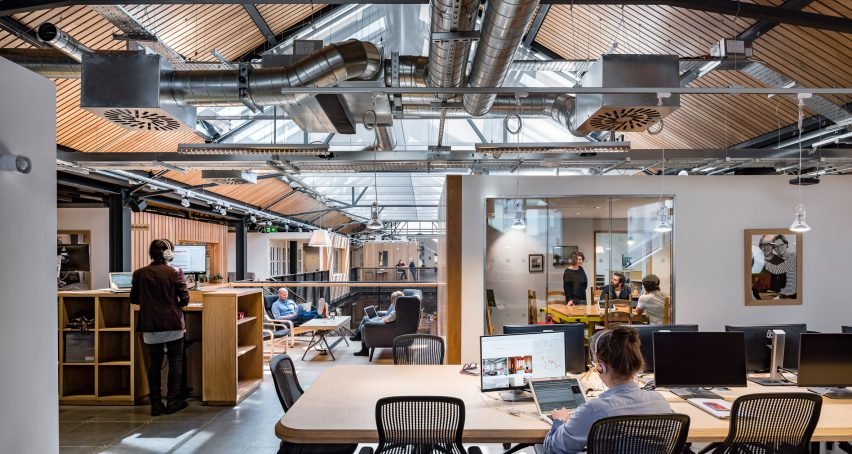 Dublin office space Agency Airbnb Dublin Office Interior Dezeen Airbnb Unveils New Headquarters In Disused Dublin Warehouse