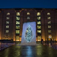 Alex Chinneck traps Christmas tree inside gigantic ice cube