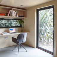 Prefabricated garden studio in south London is clad in cedar and lined in birch