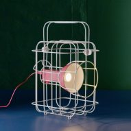 Matali Crasset models caged IKEA light on vintage railway lamps