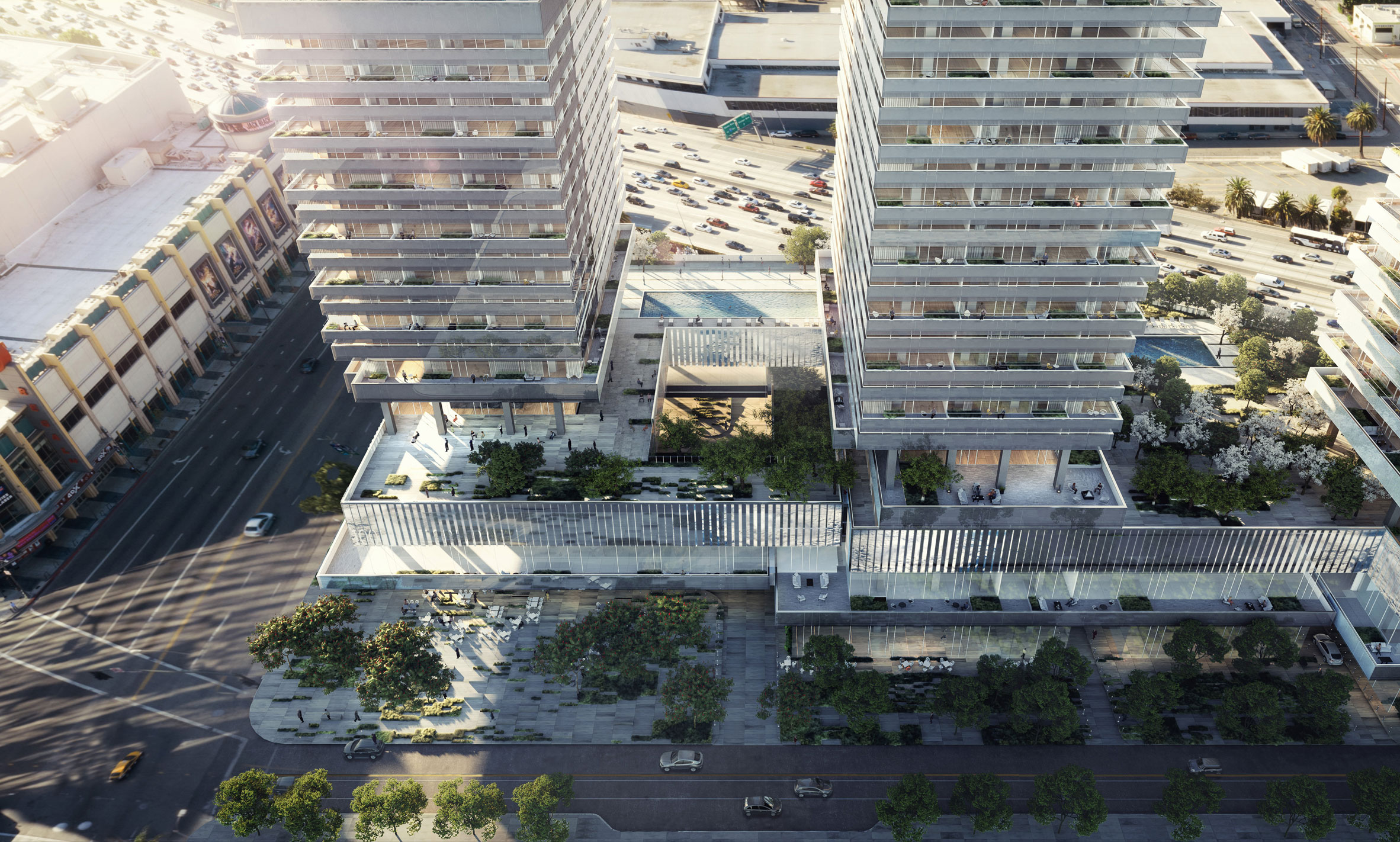 SOM unveils trio of towers for Downtown Los Angeles