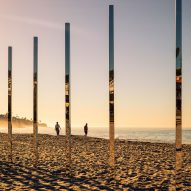Phillip K Smith III's Quarter Mile Arc reflects sea and sky at Laguna Beach
