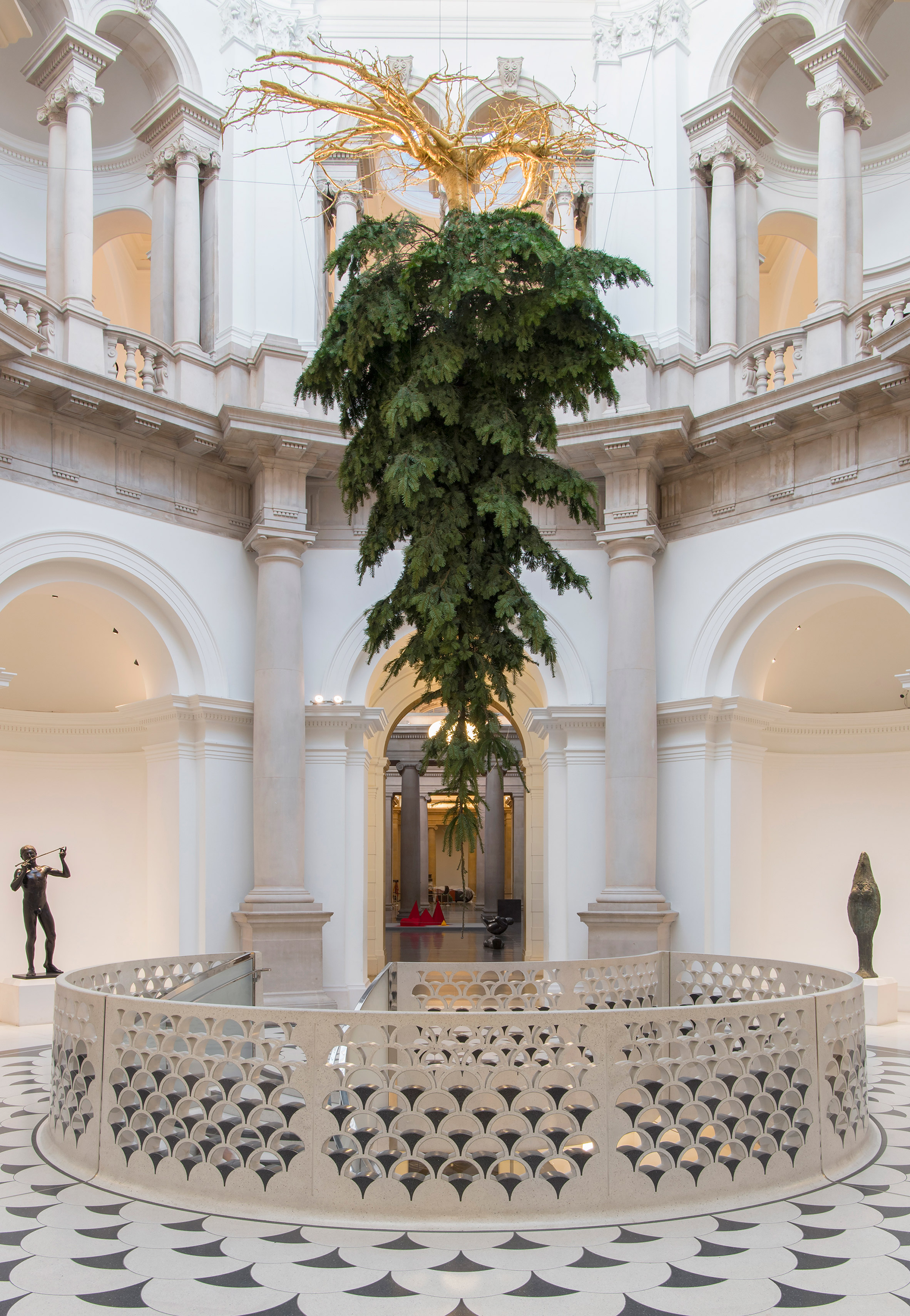 Upside Down Christmas Tree Ceiling.Upside Down Christmas Tree Suspended From Tate Britain Ceiling