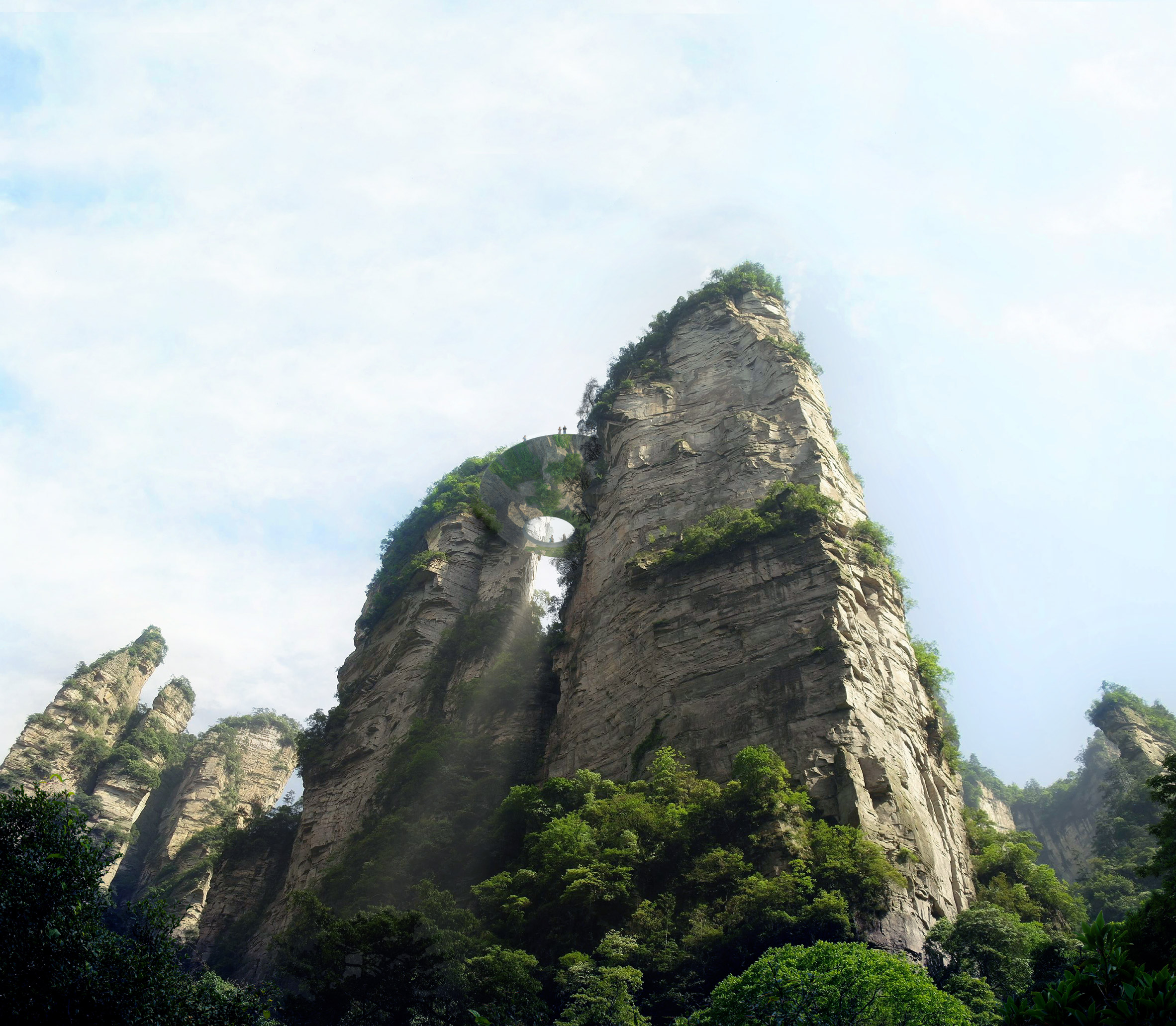 Mirrored and transparent viewpoints proposed for China's Zhangjiajie forest