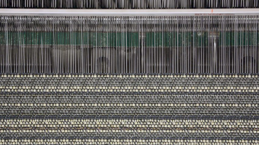 Loom weaving vinyl thread together with other textiles such as wool or cotton