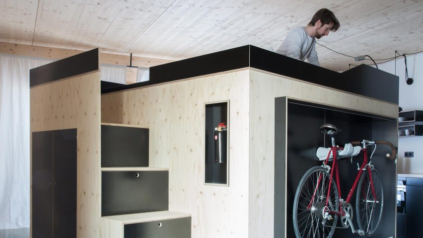 Nils Holger Moormann creates space-saving living cube for micro apartments