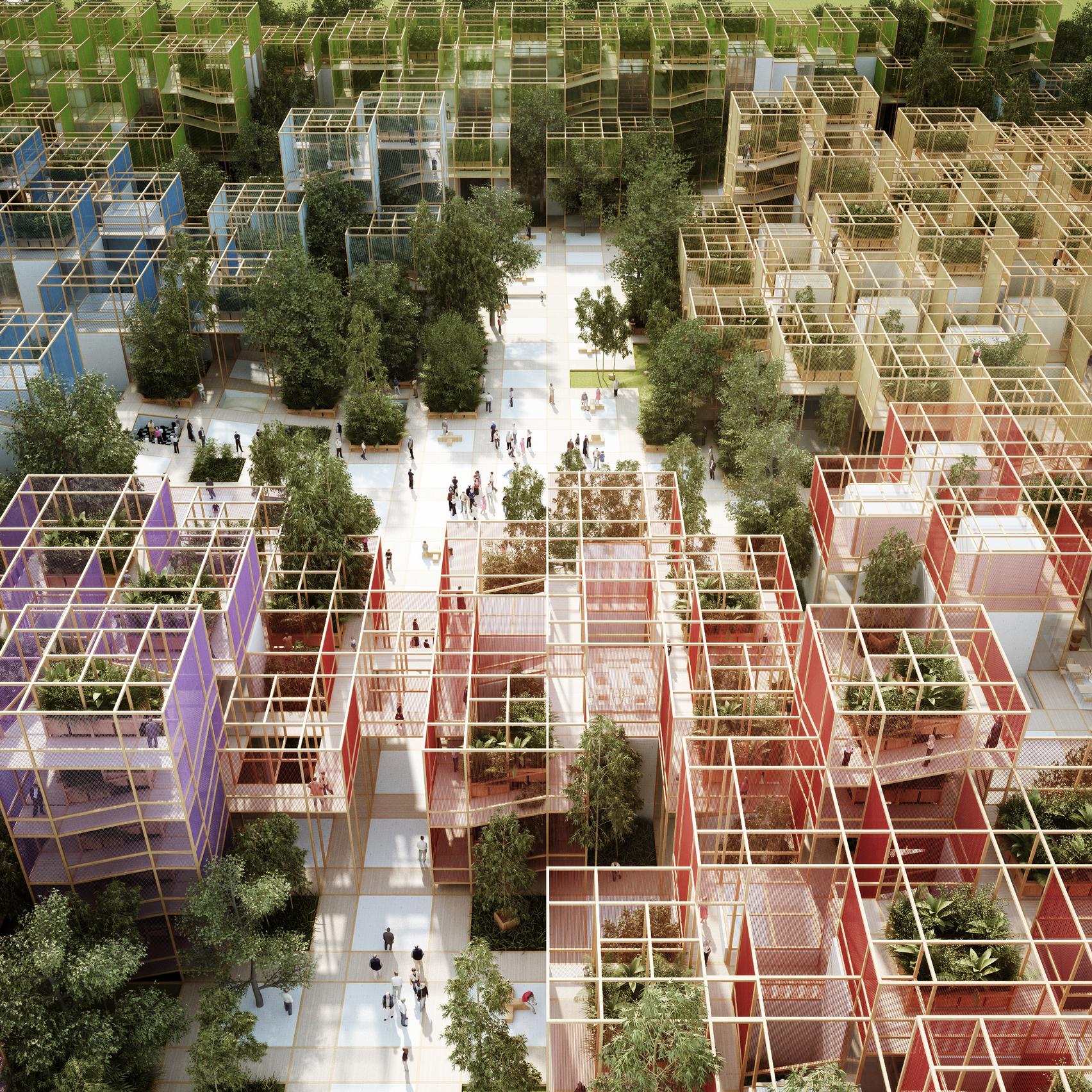 Penda Designs Modular Wooden Village For Beijing Horticultural Expo