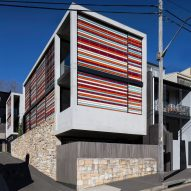 Multi-coloured sunscreens create stripy exterior for Sydney house by Smart Design Studio