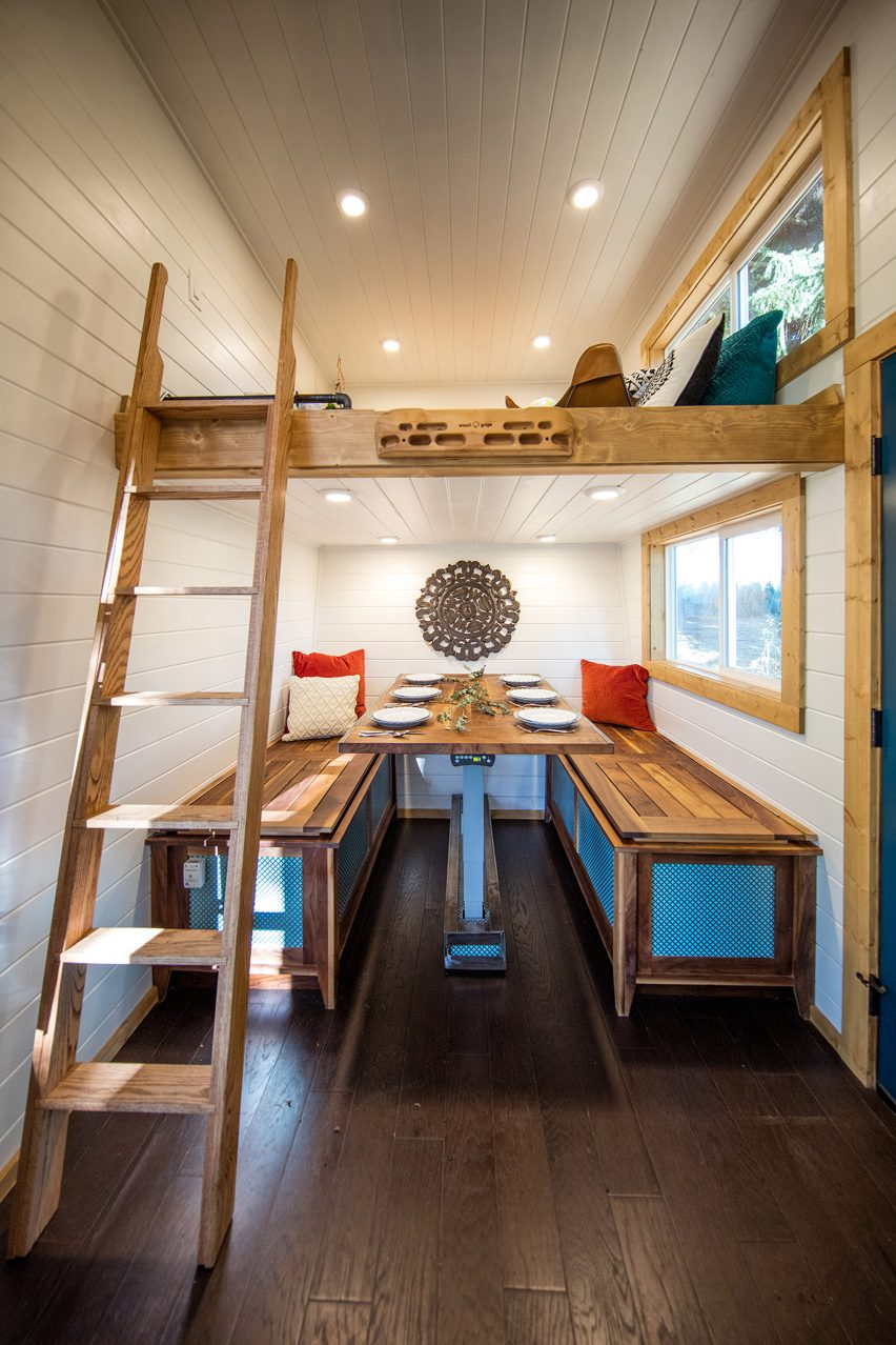 Cabin with climbing wall by Tiny Heirloom
