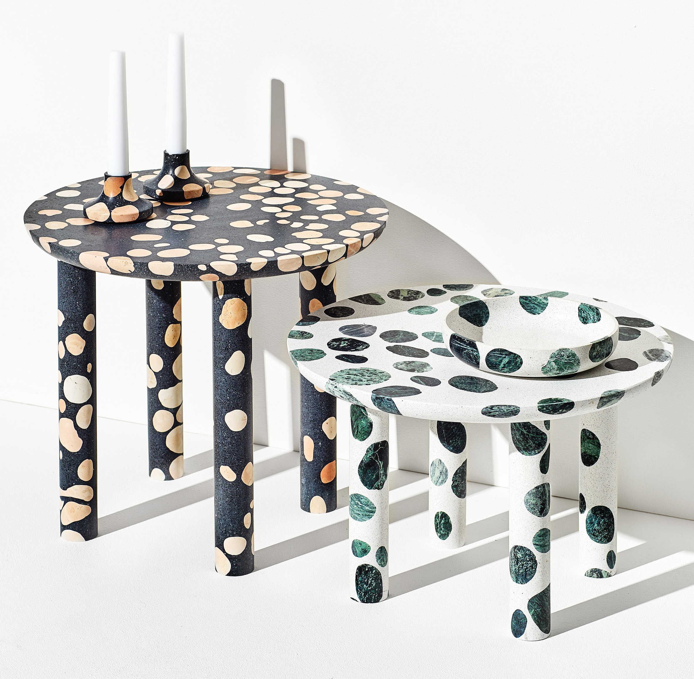 Alberto Bellamoli creates dappled terrazzo tables, bowls and candleholders