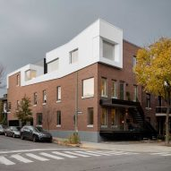 Naturehumaine upgrades Montreal residences with new brickwork and a white roof extension