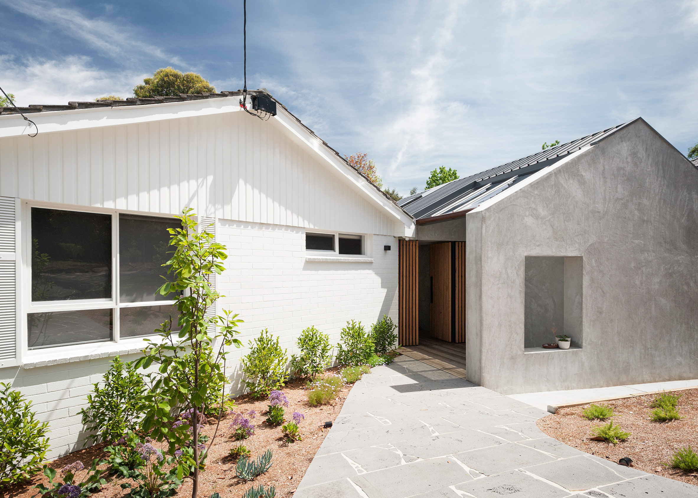 gabled extension improves connection between melbourne house and its mature garden - Home Extensions Melbourne