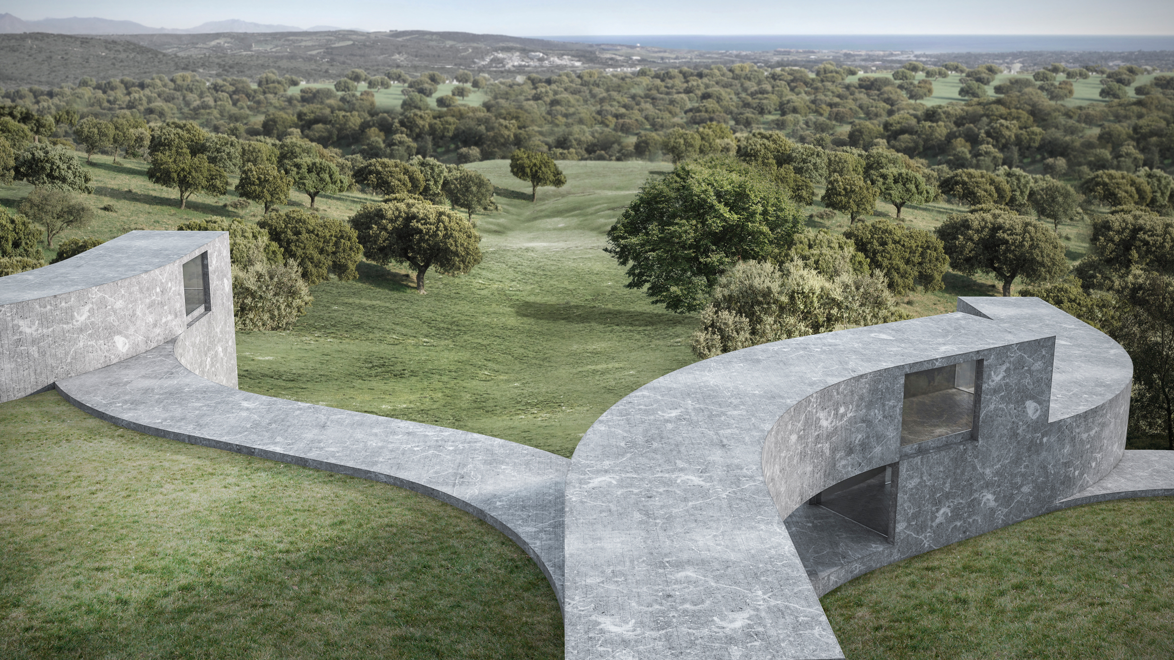 sinuous blocks frame tiered gardens in housing concept by fran