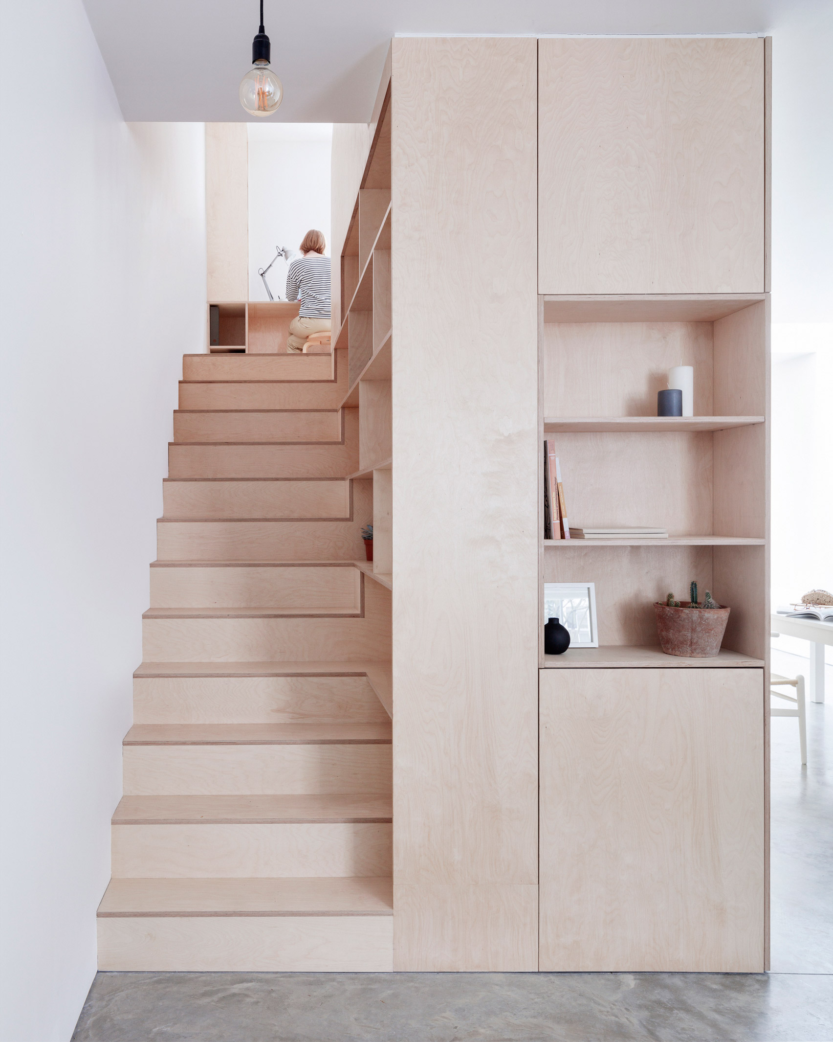 Larissa Johnston arranges minimal London home around plywood box
