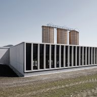 Concrete colonnade fronts motorway maintenance centre in Salzburg by Marte.Marte Architects