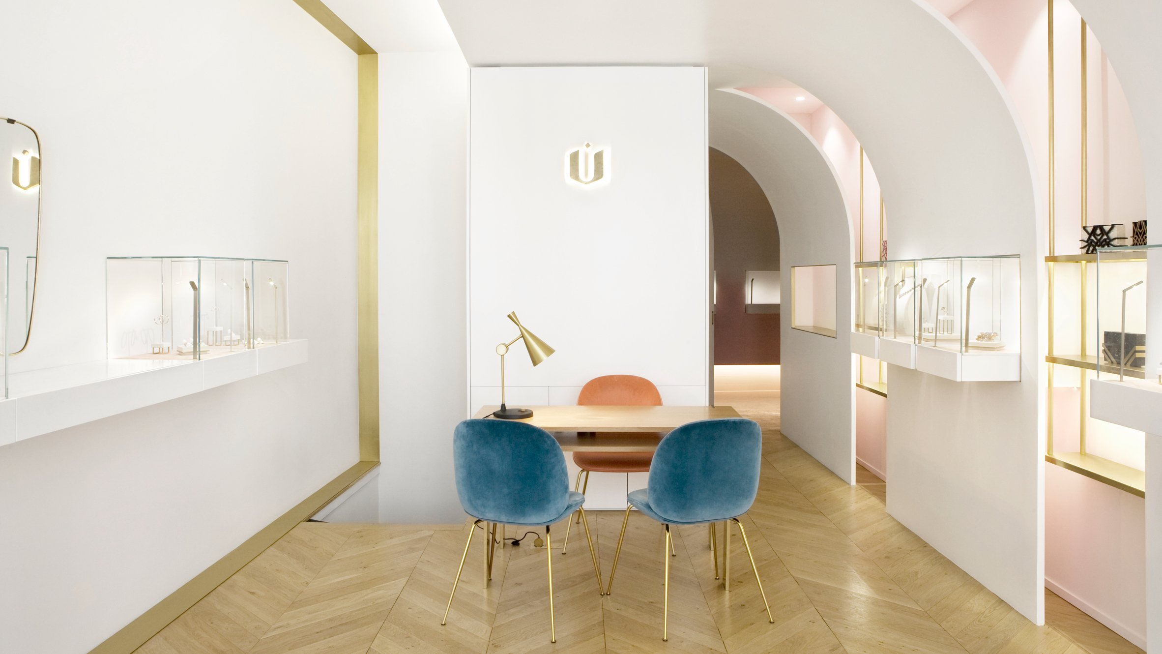 Soft Hued Jewellery Store Designed For Owner With Love Of Gold And Pink