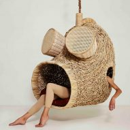 Porky Hefer exhibits human-sized nests made from woven plant stalks